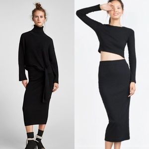 Zara ribbed knit midi skirt black Small NWT